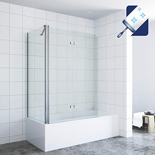 AQUABATOS® Eck Duschtrennwand Duschwand für Badewanne faltbar Badewannenaufsatz 120 x 140 cm mit Seitenwand 75 x 140 cm aus 5mm ESG Sicherheitsglas mit Nano Beschichtung
