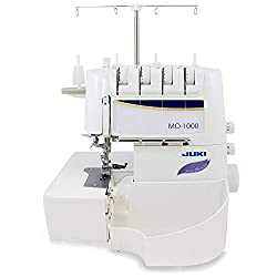 in budget affordable JUKI MO-1000 Serger, pneumatic needle threader with push button, purple