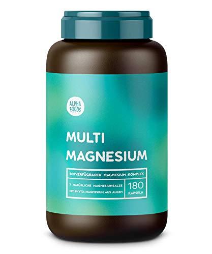 Multi-Magnesium | 180 Kapseln, Hochdosiert | 7 bioaktive Magnesium-Quellen | Mit Phyto-Magnesium | 2140mg Magnesium und 300mg elementares Magnesium pro Tagesdosierung