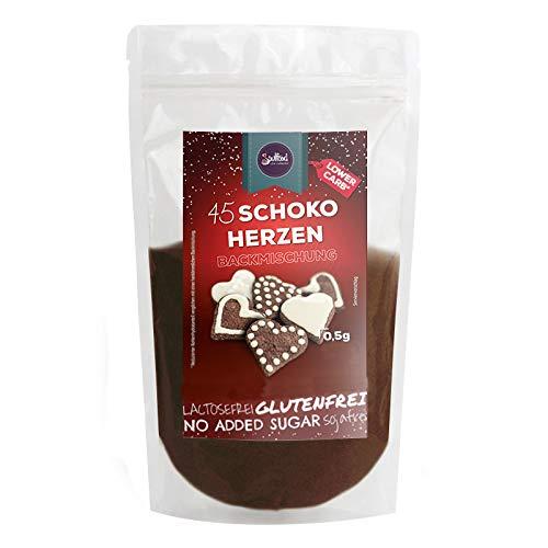 Schokoladenherzen Plätzchen Backmischung von Soulfood LowCarberia 210g (ca. 45 Herzen)