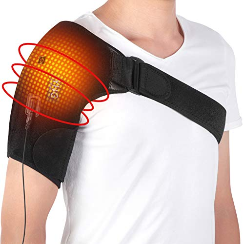 Heating Shoulder Brace Wrap, Heat Shoulder Support, Hot Cold Therapy for Rotator Cuff, Frozen Shoulder and Shoulder Dislocation Pain Relief, Fits for Left or Right Shoulder, Men Women