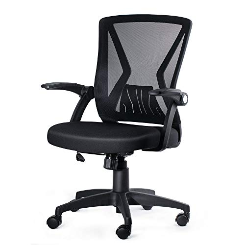 KOLLIEE Mid Back Mesh Office Chair Ergonomic Swivel Black Mesh Computer...