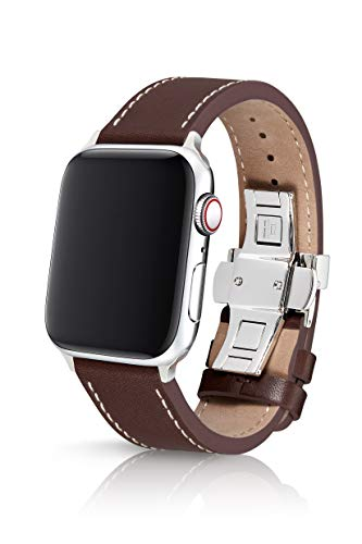 42/44mm JUUK Korza Cacao Premium Watch Band Made for The Apple Watch, Made with Genuine Italian Leather with a Solid Stainless Steel deployant Buckle (Silver)