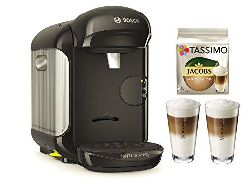Bosch TASSIMO Vivy 2 Bundle + Latte Macchiato Gläser Set + TDisc Latte Macchiato (Schwarz)
