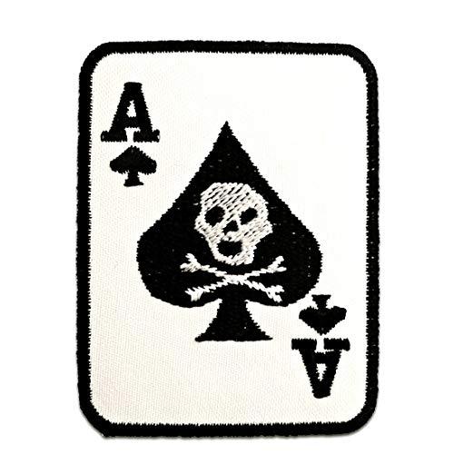 Parches - Poker as carta calavera Biker - blanco - 6x7,5cm - termoadhesivos bordados aplique para ropa