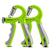 Exercise Bands Counting Gripper - Hand Grip Strengthener With Counter, Adjustable Resistance Of 10-60kg Grip Strength Trainer Therapy And Workout Forearm Strengthener (2Pack) for Musle Training Shape