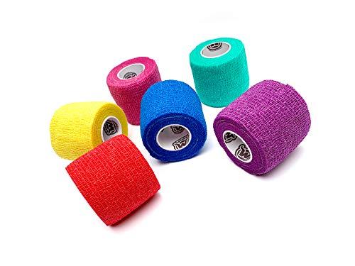 WildCow Vet Wrap 2' Bulk Tape Dog Bandages, 6 Color Pack Pet Leg Raps