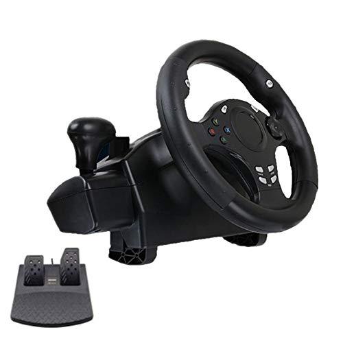 Globqi racestuurwiel met ontvangsttransmissie en pedalen voor PS4/PS3/PC/XboxONE/XBOX-360/Switch/Android, 270 ° racefiets, simulator van het stuur, accessoires voor rijspellen