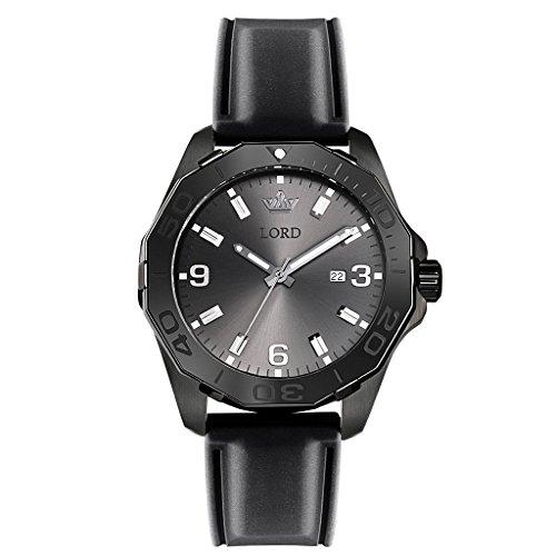 Lord Timepieces Herren Sport Classic Black Uhr - Schwarz Silikonband - 45mm