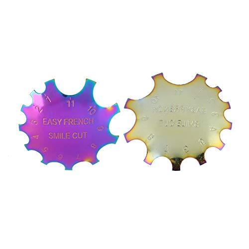 Práctica plantilla de acero inoxidable para decoración de uñas, corte de sonrisa francés, para salones de manicura, salón de belleza