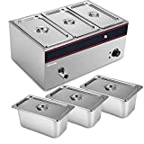 Commercial Food Warmer Steam Table Food Steamer Rice Steamers Electric Food Warmers Stainless Steel Cooker for Restaurant Buffet Catering Parties Bread Vegetable Dumpling Bun Meat (3 1/3 size pans)