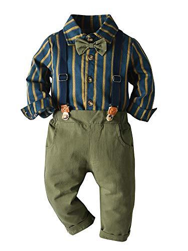 MSemis Baby Jungen Bekleidungssets Gentleman Smoking Anzug Babyanzug Langarm Gesteift Poloshirt + Fliege + Hosenträgerhose Gr.68-110 Olivgrün 92-98