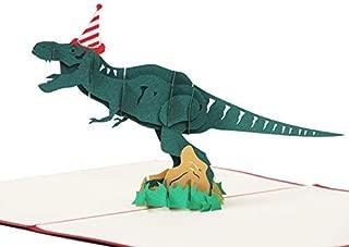 LANGXUN 3D Pop Up Dinosaur Happy Birthday Card, Jurassic Tyrannosaurus Card, Personalized Kid Funny Greeting Cards Birthday