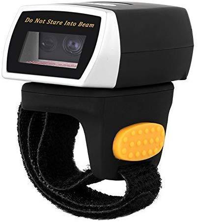 Bonne qualité Portable Mini Bluetooth 2D Anneau QR Scanner de Code à Barres NT-F002 Longue Distance 1/8 Million 200times / Sec Image Lecteur de Code à Barres avec Batterie Li