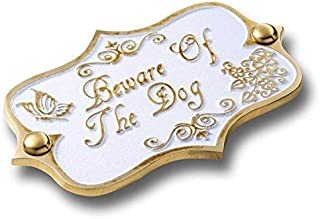 Beware of The Dog Brass Door Sign. Vintage Shabby Chic Style Home Décor Wall Plaque Handmade by The Metal Foundry UK.