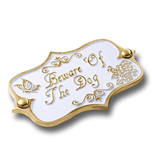 The Metal Foundry Beware of The Dog Brass Door Sign. Vintage Shabby Chic Style Home Décor Wall Plaque Handmade UK.