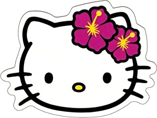 Square Deal Recordings & Supplies Hello Kitty - Face Shot with Hawaiian Hibiscus Flowers - Sticker/Decal