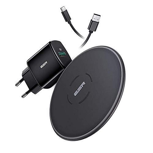 ESR Cargador Inalámbrico Rápido con Adaptador QC 3.0 para iPhone 12/12 Pro/12 Mini/12 Pro Max/SE 2020/11/11 Pro/11 Pro MAX/XS/XS Max/XR/X, 10W Wireless Charger para Galaxy S20/S20+/S10/S9(estándar UE)