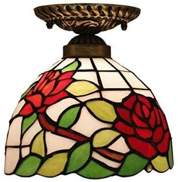 Lámpara de techo, luz de baño Lámpara de techo creativo Flush Monte Luz de techo Rose Glass Shade Decoración del techo E27 Lámpara de araña para la sala de estar Barra de la noche Luz de noche