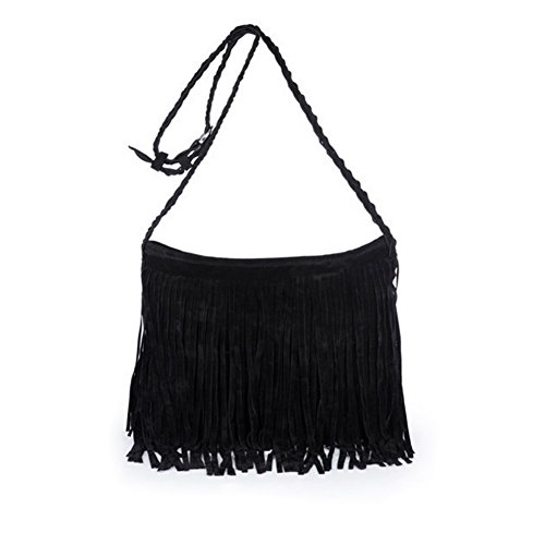 Jiaruo Girls Scrub Sling Leather Woven Mini Buckets bags Crossbody Bag Flap (black)