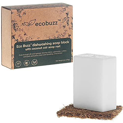 Dishwashing Soap Block by Eco Buzz - Zero Waste for Eco-Friendly Washing and Cleaning of Kitchen Dishes, 6oz Bar, with Biodegradable Coconut Coir Soap Rest - Unscented.