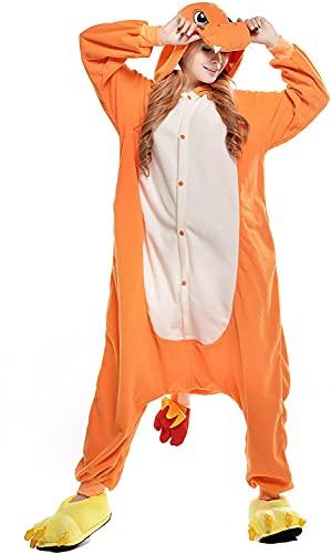 Pigiama Intero Unisex per Adulti, in Peluche, a Forma di Animale, Costume per Halloween Charmander. S
