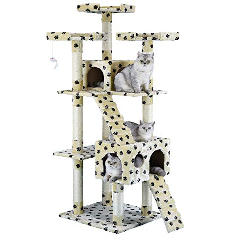 """Go Pet Club 72"""" Cat Tree Condo Furniture - Paw Print"""