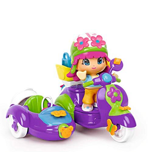Pinypon Moto con Personaggio, Viola/Rosa