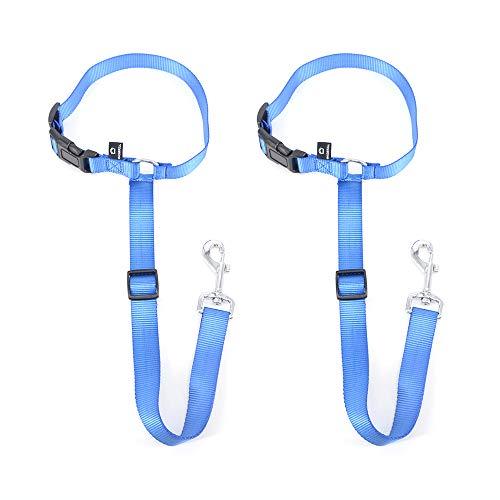 MASBRILL Hundegurt fürs Auto Kopfstütze, 2 Stück Sicherheitsgurt Hund Ausbruchsicher, Verstellbar Sicherheitsgeschirr für Kleine, mittlere & große Hunde - Blau
