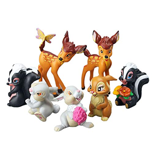 DOYIFun Cartoon Bambi Movie Classic Characters Toy Figure, 7 Pcs Collectible Fawn Animal Figurines Chipmunk Bunny Cake Toppers Plant Automobile Party Decorations