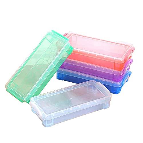 Caja de lápices multifuncional transparente caja de plástico almacenamiento papelería color 5pcs viaje artículos de tocador bolsa