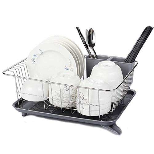 Ahyuan Kitchen Dish Drainer Drying Rack SUS304 Stainless Still Dish Rack with Drainboard with Corner Adjustable Swivel Spout and Removable Plastic Cutlery Tray 3 in One Set (Silver)