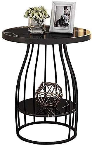 WSHFHDLC coffee table Modern black coffee table living room coffee table marble top and metal legs apartment balcony small space small coffee tables