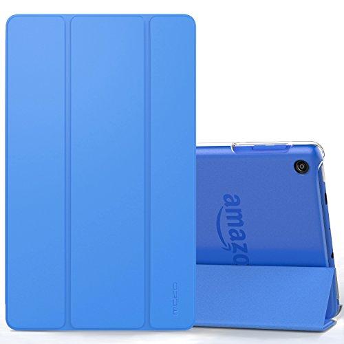 MoKo Hülle für All-New Amazon Fire HD 8 Tablet (7th und 8th Generation – 2017 und 2018 Modell) - Ultra Slim Lightweight Smart Cover mit Durchschaubar Rückseite Schutzhülle, Blau