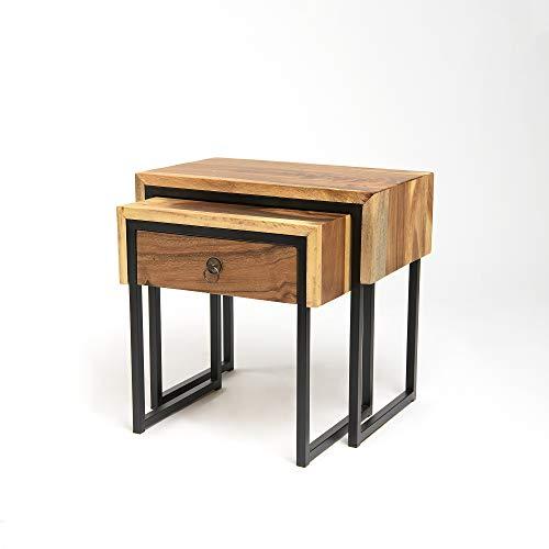 Best Home Fashion Teak Nesting Side Table Set - Natural - Set of 2
