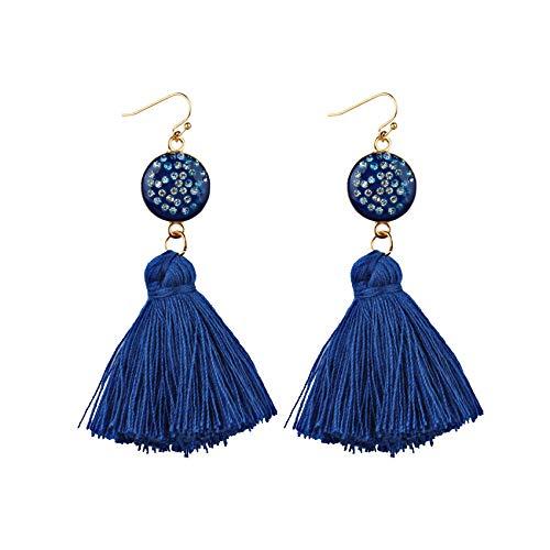GGSDDU Earring Bohemian Tassel Earrings For Women Fashion Dangle Earrings Ear Jewelry Metal Earrings Hooks Girlfriend Birthday Gift Available In Multiple Colors,Navy Blue