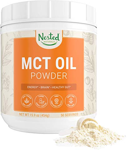 MCT Oil Powder with Prebiotic Acacia Fiber | Keto Diet Powder for Coffees, Shakes & Smoothies | Zero Net Carbs | 100% Vegan | C8 & C10 Medium Chain Triglycerides from Coconut Oil | 50 Servings