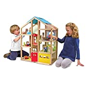 OPEN-SIDED DOLLHOUSE: The Melissa & Doug Hi-Rise Wooden Dollhouse and Furniture Set features three play figures and 15 pieces of furniture. It's an open-sided, 1:12 scale dollhouse that's ideal for home or school. FRESH, APPEALING COLORS: Our Melissa...
