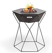 barbecook Feuerschale und Grillplatz Rila im Garten zusammen um das Feuer Grillen mit Durchmesser 75 cm Grillfläche, 71 cm Höhe, Schwarz