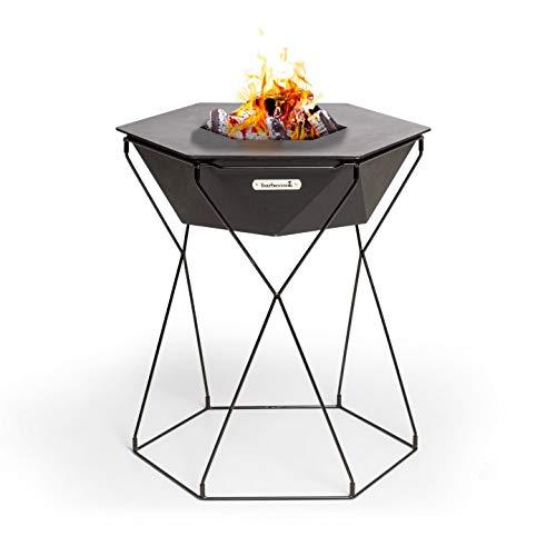 barbecook Feuerschale und Grillplatz Rila im Garten zusammen um das Feuer Grillen mit Ø 75 cm Grillfläche, 71 cm Höhe, Schwarz