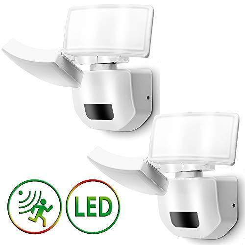 2 Stück LED Strahler Ausenlicht mit Bewegungsmelder 30W Doppel Aussenstrahler Ausenwand Tageslichtweiß Beleuchtung Hoflampe IP66 Aussenlampe Treppenleuchte