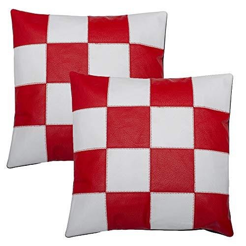 Charlie LONDON - 2 federe per cuscini in pelle, colore: Bianco e Rosso
