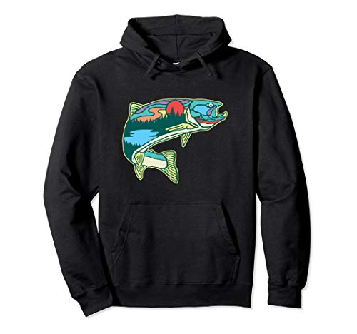 Nature Trout Illustration Vintage Fly Fishing Retro Graphic Pullover Hoodie