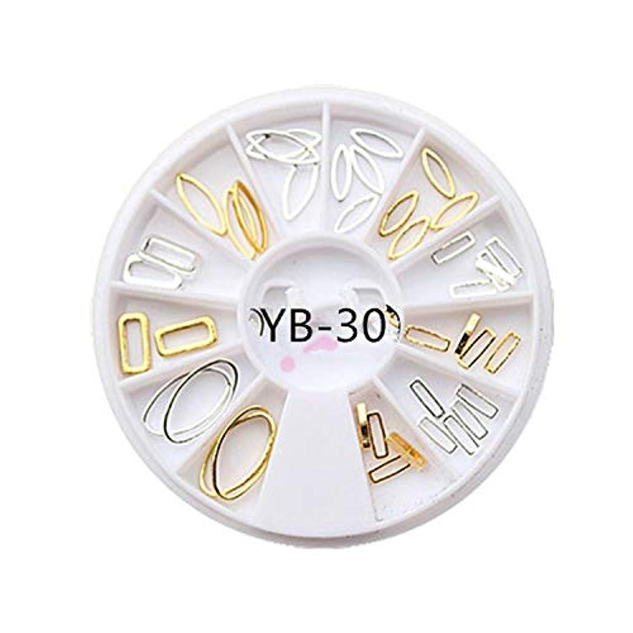 ロードブロッキング実験をする露手足ビューティーケア 3ピースdiyマニキュアディスク飾りアーク金属リング不規則フレーム中空馬の目のリベット光線療法ネイルデコレーション (色 : YB-30)