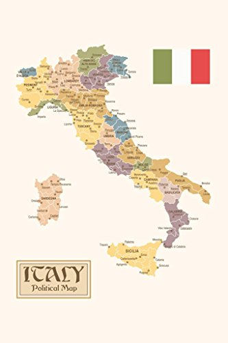 Political Map of Italy Regions Provinces States Flag Vintage Style Cool Wall Decor Art Print Poster 24x36