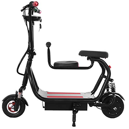Kingtowag Electric Scooter Lightweight Motorized Rides Commuter Electric Road Bike with Seat & Dual Braking Folding Seated On Outdoor for Parent-Child Speeds Up to 7.5mph (31) (Black01)