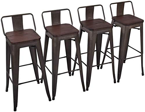 Yongchuang 30' Seat Height Metal Barstools with Backs Industrial Counter Bar Stools Set of 4 (Wooden Top Low Back, Gunmetal)