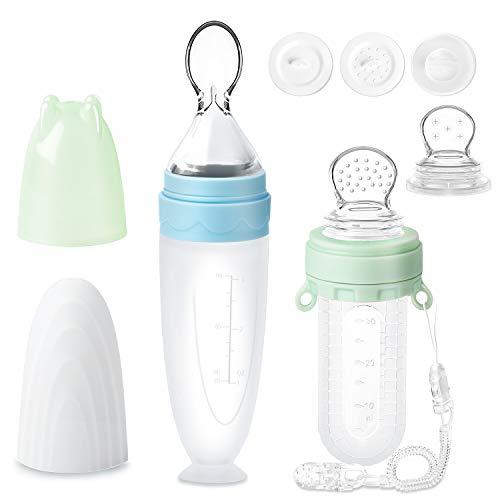 Fruchtsauger für Baby, 2er-Pack Termichy 30 ml Obstsauger Baby 90 ml Baby Getreide Fütterungs Flasche für Kleinkinder mit Staubschutzkappe (Grün&Blau)