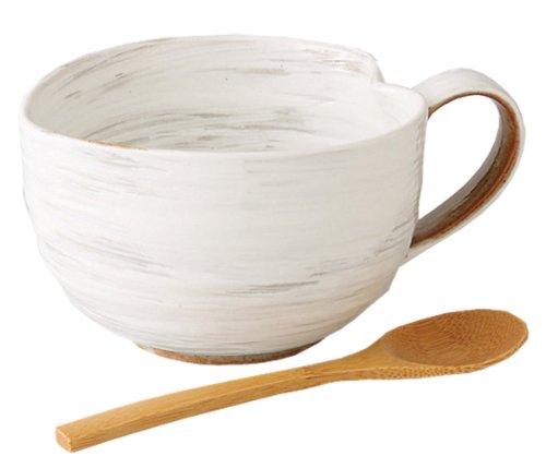 西海陶器 波佐見焼 納豆鉢(さじ付) (ミニ) 粉引柄 42653