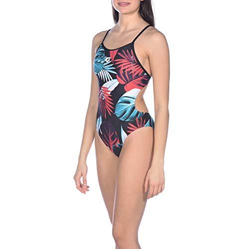ARENA Damen Sport Badeanzug Tropical Leaves, Black-Multi, 42